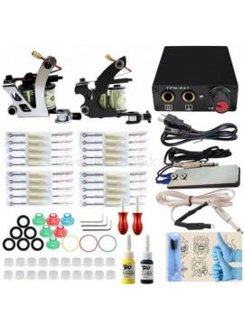 Tatoveringsmaskin Kit En Sølv Og En Svart Machine 2 Farges