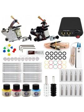 Tatoveringsmaskin Kit En Sølv Og En Svart Machine 4 Farges