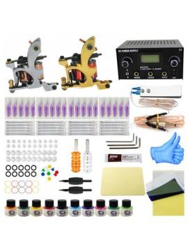 Tatoveringsmaskin Kit En Sølv Og En Gull Machine 10 Farges