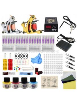 Tatoveringsmaskin Kit En Sølv Og En Gull Machine 4 Farges
