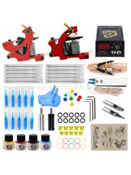 Tatoveringsmaskin Kit To Rød Machines 4 Farges