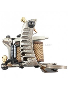 Tatoveringsmaskin N109 10 Layer Coil Damascus Stål Liner Sølv