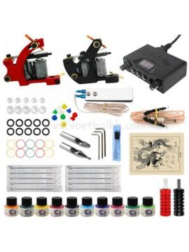 Tatoveringsmaskin Kit En Svart Og En Rød Machine 10 Farges