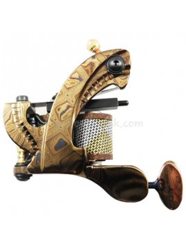 Tatoveringsmaskin N109 10 Layer Coil Damascus Stål Shader Gull
