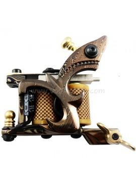 Tatoveringsmaskin N109 10 Layer Coil Damascus Stål Shader Gul
